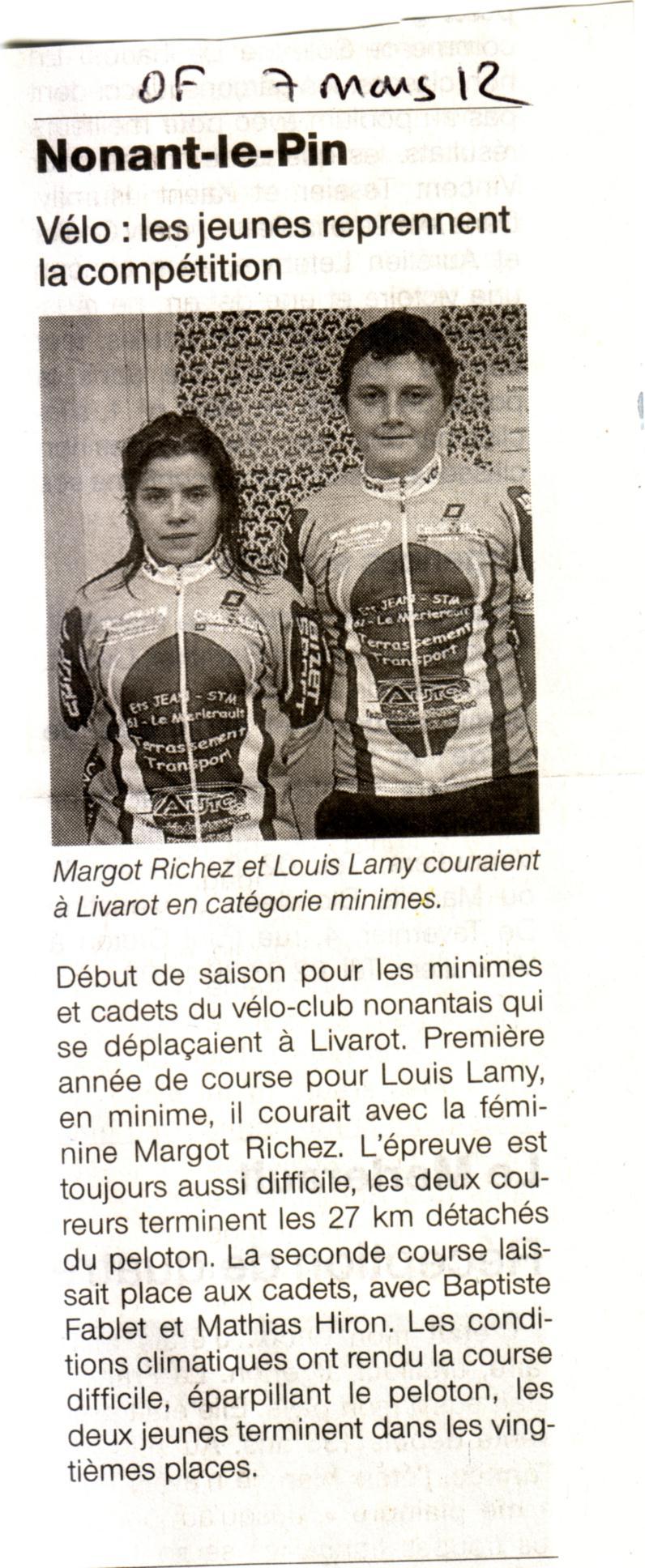 course à Livarot pour les minimes cadets Ouest-France 07 mars 12 Réveil Normand sport 07 mars 12