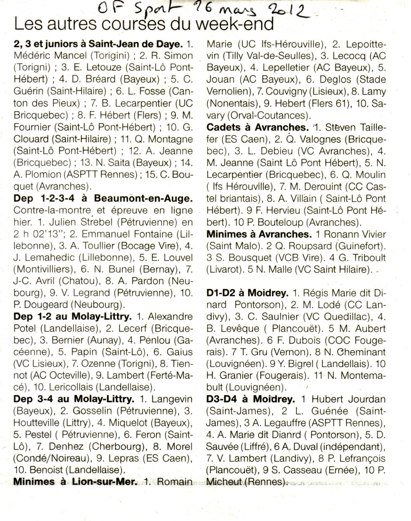OF sport résultat Lion/mer de Louis Lamy Course à Bagnoles de l'Orne, arrivée du Tour de Normandie, Rugles (27), Athenay (72), La Neuve Lyre (27), Le Molay Littry (50) OF...